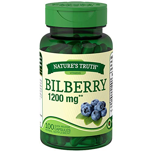 Nature's Truth Bilberry 1200 mg Quick Release Capsules - 100 ct, Pack of 4