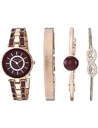 Anne Klein Set de reloj y pulsera con cristales Swarovski para mujer, dorado, borgoña, dorado rosa (Burgundy/Rose Gold)