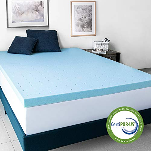 AuAg 3 Inch Gel-Infused Memory Foam Mattress Topper Softer and Breathable Cooling Mattress & 5 Year Warranty – Queen Size