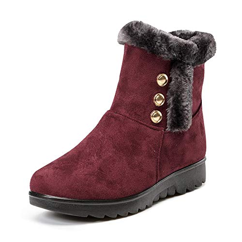 LIM&Shop ⭐ Women's Ladies Winter Waterproof Martin Short Snow Boots Warm Flats Shoes Side Zipper Buckles Outdoor Slip On