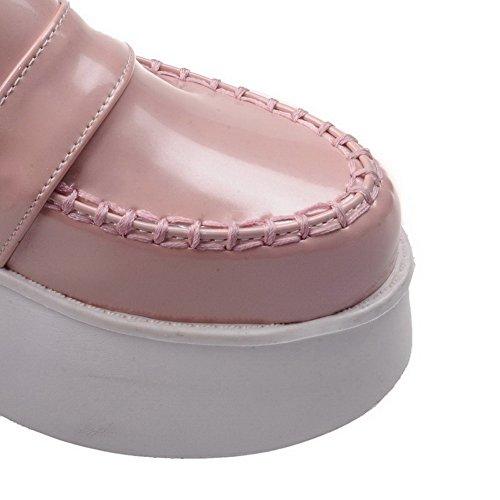 Amoonyfashion Ronde Gesloten Teen Van Damesslippers Pumps-hakken Gepatenteerd Leer Stevige Pull-on Pumps-schoenen Roze