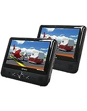 Difrnce PDVD9021 9 inch (22,86 cm) DVD-speler met twee beeldschermen, 2x hoofdtelefoon, USB, SD/MMC, 1x afstandsbediening, 2x hoofdsteunbevestiging, 1x netadapter, 1 x 12 V adapter, 1 x draagtas, zwart