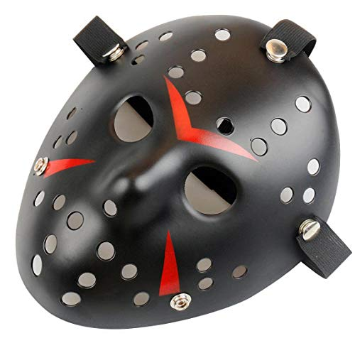Gmasking Horror Halloween Costume Hockey Mask Party Cosplay Props (Black) ()