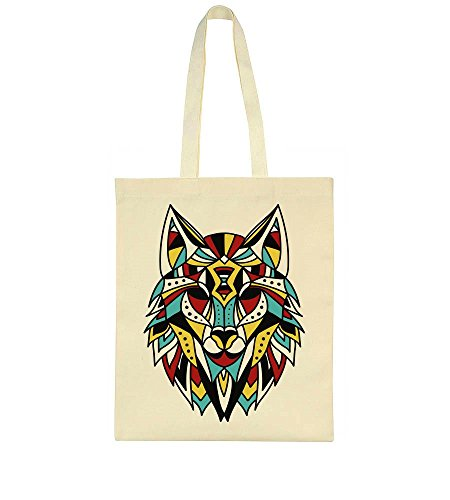 Portrait Colorful Tote Ethnic Bag Wolf wAxxEvqX