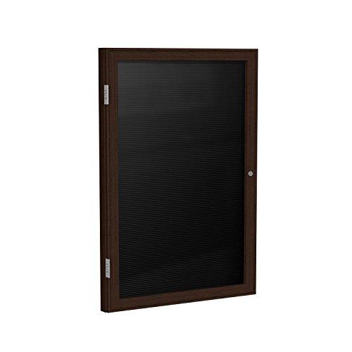 Ghent 24'' x 18'' 1 Door Enclosed Flannel Letter Board, Black, Wood Frame Walnut Finish (PN12418B-BK) by Ghent