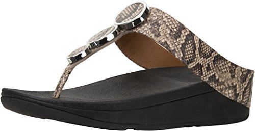 Taupe Snake (FitFlop Trade; Womens Halo Toe Thong Sandals Taupe Snake Size 8)