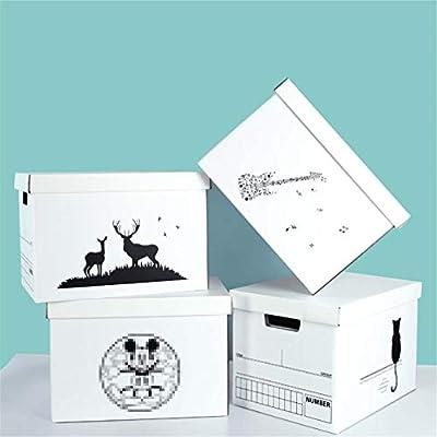LHY SAVE 4 Pcs Cajas De Cartón,Caja De Almacenaje De Cartón,con Tapa Y Asa,Fácil De Ensamblar, para Regalo, Almacenamiento En El Hogar, Oficina Y Mudanza, Blanco: Amazon.es: Hogar