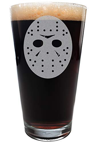Minimalist FRIDAY THE THIRTEENTH Scary Movie Mask Pint Size Drinking Glass -
