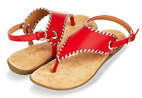 Floopi Sandals for Women | Cute, Open Toe, Wide Elastic Design, Summer Sandals| Comfy, Faux Leather Ankle Straps W/Flat Sole, Memory Foam Insole (8, Red-511)