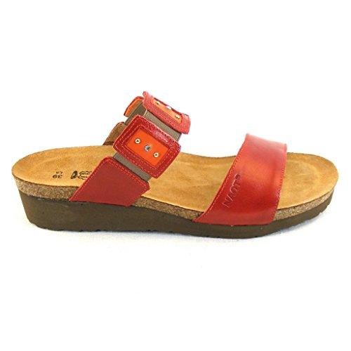 Naot Damen Schuhe Pantoletten Emma Leder rot combi 14051 Korkfußbett Freizeit