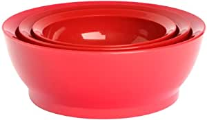 CaliBowl Nested Non-Spill Low Profile Bowls with Non-Slip Bases, Set of 3 Assorted Sizes, Red