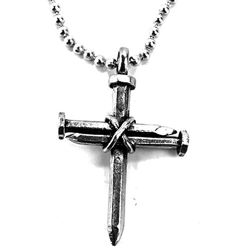 (FORGIVEN JEWELRY 3 Nails Wire Wrapped Cross on Ball Chain)