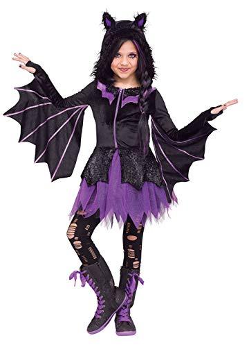 Child Girl Night Flyer Hooded Dress Purple Glitter Skirt Bat Halloween Costume -