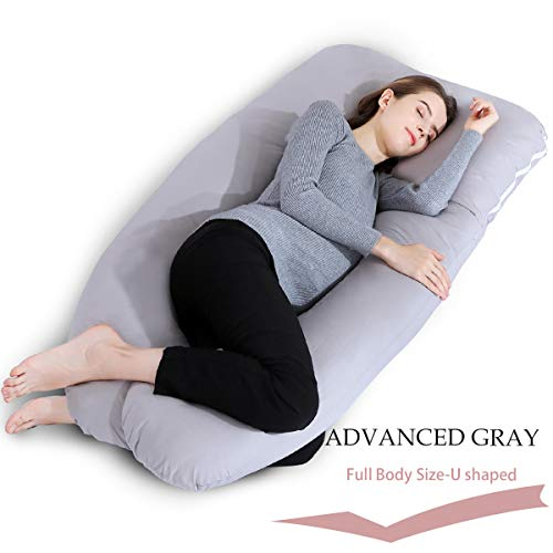 INSEN Pregnancy Pillow,U Shaped Full Body Pillow for Maternity Support with Zipper Cotton Cover