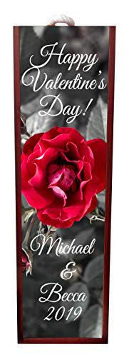 Jacks Outlet Happy Valentine's Day! - Red Rose Wine Box Personalized - Wine Box Rosewood with Slide Top - Wine Box Holder - Wine Case Decoration - Wine Case Wood - Wine Box Carrier ()