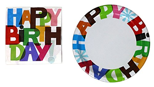 Halmark Party 32 Paper Plates And 80 Napkins - Happy (Birthday Party Plates Napkins)