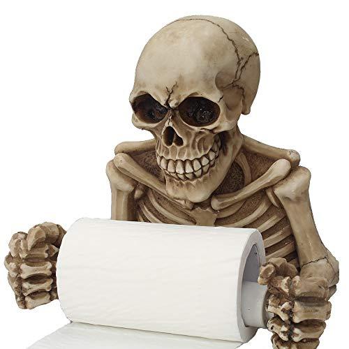 AAA&LIU Creative Skull Statue Roll Paper Holder Wall Mount Resin Sculpture Home Desk Decor Gift Halloween Party Decoration]()