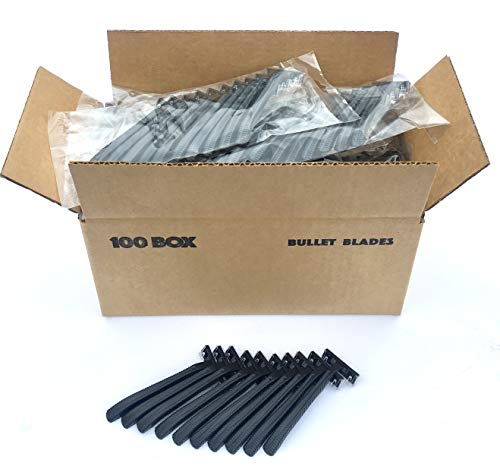 100 Box of Bullet Blades Black Razor Blades Disposable Stainless Steel Hospitality Quality Shavers High End Twin Blade Razors for Men and Women with Aloe Vera Lubrication Strip