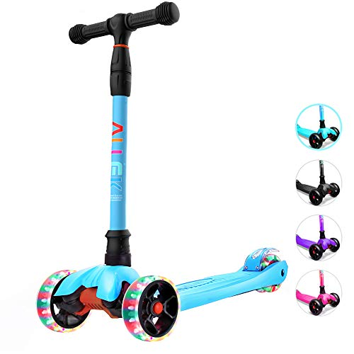 Allek Kick Scooter, Lean 'N Glide Scooter with Extra Wide PU Light-Up Wheels and 4 Adjustable Heights for Children from 3-14yrs (Aqua Blue)