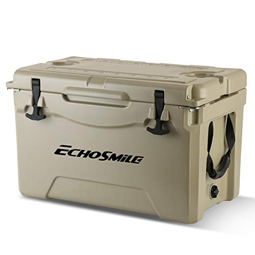 EchoSmile Khaki Cooler, 35 Quart Rotomolded Cooler, 5 Days Ice Retention, Heavy Duty Ice Chest(Built-in Bottle Openers, Fishing Rule, Cup Holders and Lockable Corners) for Camping, Fishing
