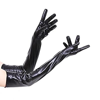 Golovejoy Sexy Elastic Wet Look Shiny Leather Elbow Length Gloves for Party Cosplay