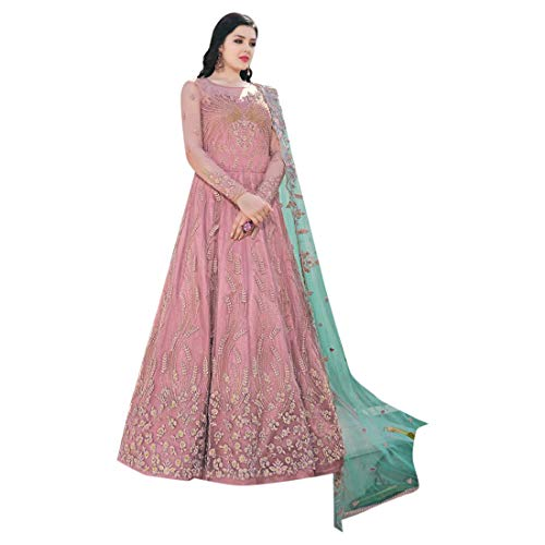 - Pink Indian Bollywood Evening Cocktail Net Anarkali Salwar Skirt style Suit Abaya Women Eid dress Semi-stitch 7942 6