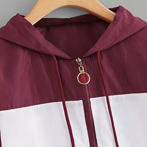 Hooded Hoodie Women Patchwork Zip Pockets Wine Jersh Sport Coat Women Skinsuits Long Outerwear Sleeve Thin Sweatshirt 8WqSFRw
