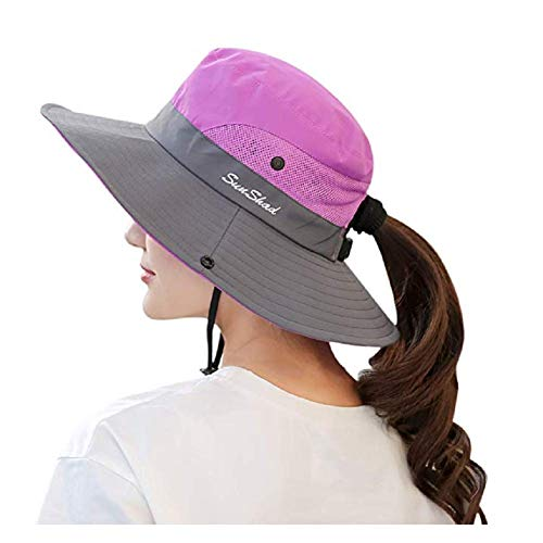 Women's Summer Sun Hat Wide Brim Hat with Pony Tail Hole UV Protection UPF 50+ Foldable Hat for Outdoor Beach Hiking Fishing Purple