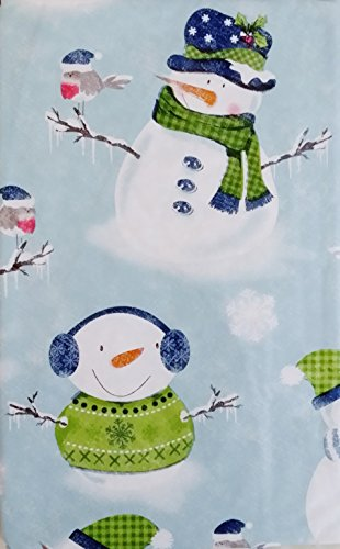 Winter Wonderland Flannels - Snowmen and Snow Birds in a Winter Wonderland Vinyl Flannel Back Tablecloth (52