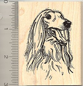 (Afghan Hound Rubber Stamp - Wood Mounted)