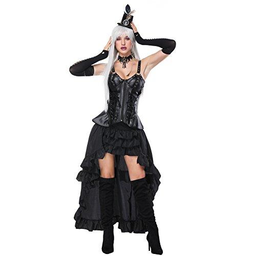 Feelingirl Damen Korsagekleid Steampunk Gothic Kostum Magic Mistress