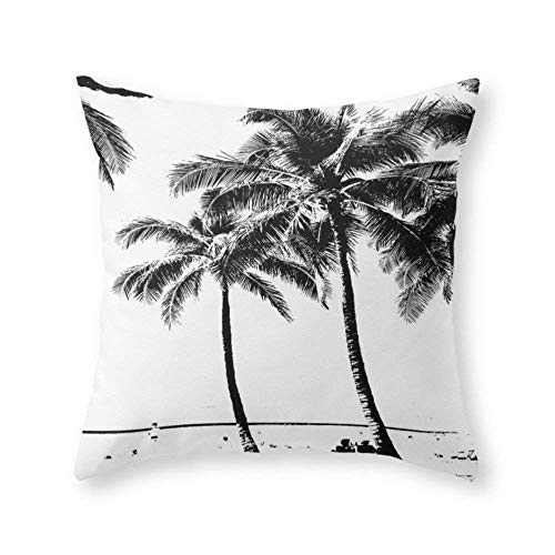(Lalae-ltd Black and White Palm Tree with Hawaii Summer Sea Beach Throw Pillow Case Cushion Cover (18