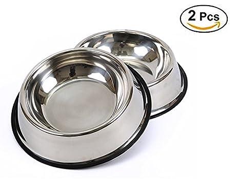 BPS® 2x Comedero Bebedero Acero Inoxidable para Perro Gato Mascotas Diámetro 3 Tamaños para elegir