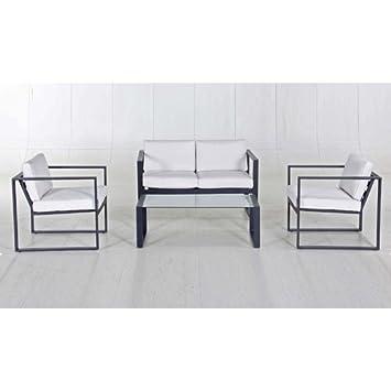 Salon de jardin détente Boca Chica - Aluminium - Noir et ...
