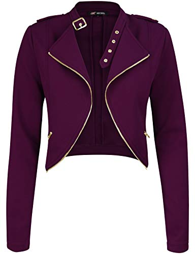 Michel Womens Fleece Jacket Classic Crop Rider Zip UP Jacket Purple Small