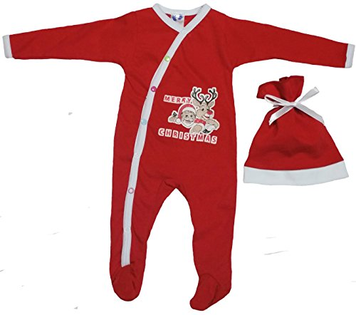Baby First Christmas Outfit For Infants with Reindeer and Santa Prints by TenTeeTo (3-6 Months, (Baby Santa Outfit For Boy)