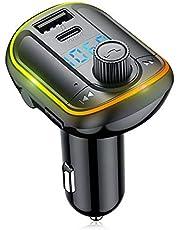 Houshome Transmissor FM Bluetooth 5.0 para carro Reprodutor de modulador de MP3 Receptor de áudio sem fio mãos-livres Carregador rápido USB duplo 3.1A Reprodutor de música MP3 Disco TF/U