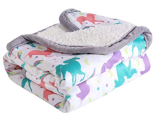 Breathable Baby Blanket Print Fleece Best Registry Gift for Newborn Soft- Perfect for Prince and Princess 30' x 40' (Unicorn)