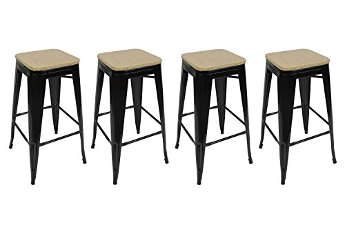 """- Stackable Industrial Metal Bar Counter Stool 30""""– Black w/ Bamboo Top (4 Pack)"""