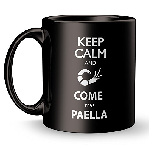 Paella Coffee Mug - Keep Calm and Come - Super Funny and Inspirational Gifts 11 oz ounce Black Ceramic Tea Cup Ultimate Travel Gear Novelty - Real Madrid FC -