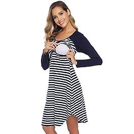 Hawiton Women's Breastfeeding Nightdress Maternity Pyjamas Nightshirt Nursing Nightwear Long Sleeved Striped A-line Dress