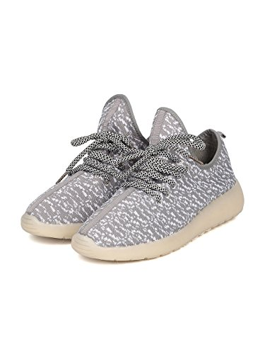 Kids Fabric Two Tone Lace Up Light Up Chargeable Jogger Sneaker GF45 - Grey (Size: Big Kid 4) by Link (Image #4)