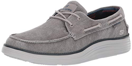 Skechers Men's Status 2.0-LORANO MOC Toe Canvas Deck Shoe Oxford, LTGY, 8.5 Medium US ()