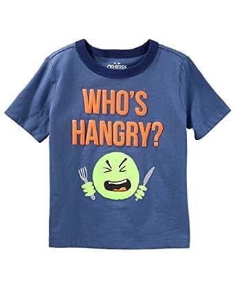 Osh Kosh Boys' Kids Graphic Tees, Blue Hangry, 4-5