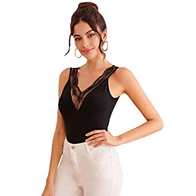 DIDK Women's Sexy Double V Neck Lace Trim Tank Top at Women's Clothing store