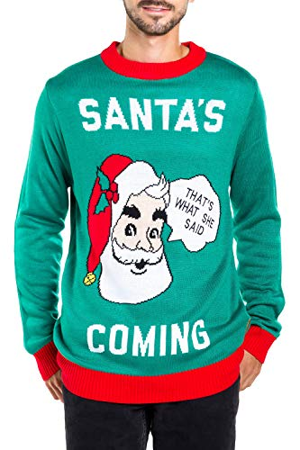 Men's Santa's Coming to Town Funny Christmas Sweater - Green Santa Ugly Christmas Sweater: Large ()
