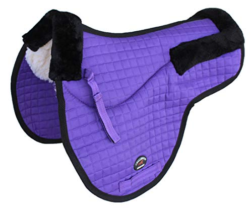 St. Charles Horse Quilted English Saddle PAD Trail Contour Fleece Lined Purple 72103