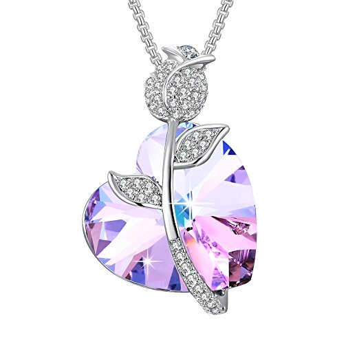Angelady Gemstone Created Infinity Pendant Necklace Gifts Women Girls Crystal from Swarovski (3) Jewelry Girlfriend Daughter Wife Wedding Party Gifts ()