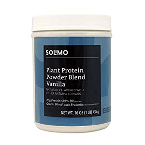 Amazon Brand Solimo Plant Protein Powder Blend, Vanilla, 1 Pound, 13 Servings