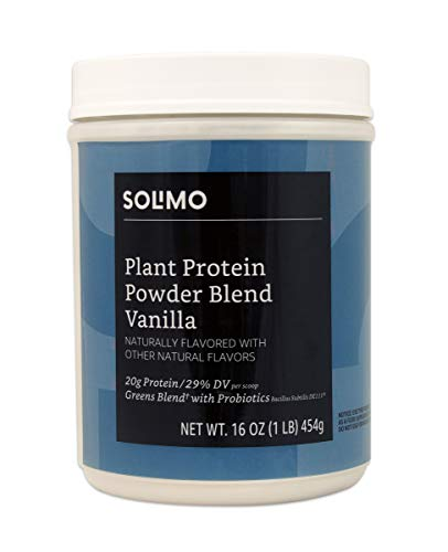 Health & Personal Care : Amazon Brand - Solimo Plant Protein Powder Blend, Vanilla, 1 Pound, 13 Servings